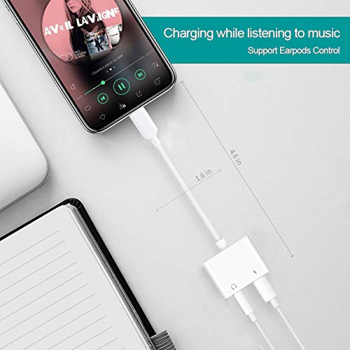 for iPhone Headphone to 3.5mm Jack Adapter for iPhone Adapter Jack Aux Dongle Car Charger 2 in 1 Cable Compatible for iPhone 7/7 Plus/8/8 Plus/X/XS/Max/XR Audio and Charge Adapter Support iOS 12 etc