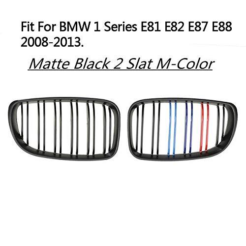 Autorennen-Grills Paar ABS Double Line 2 Slat M-Color Frontstoßstange Kidney Racing Roste Fit For BMW 1er E81 E82 E87 E88 LCI Facelifted 2008-2013, Vorder Ierengitter (Color : Glossy Black 2 M)