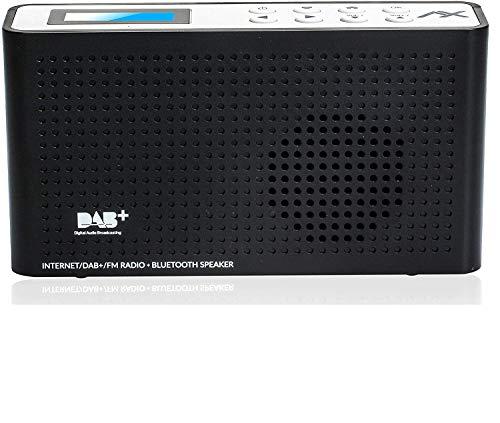 Anadol AX 4in1 Radio - tragbares Internetradio - DAB/DAB+ und FM Radio mit Bluetooth & Wifi - tragbare Musikbox mit integriertem Akku - Mini-Radio mit Kopfhöreranschluss - schwarz weiß