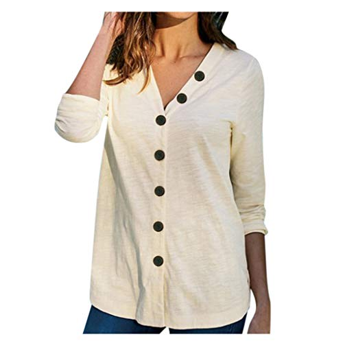 TUDUZ Elegant Damen Chiffon Einfarbig V-Ausschnitt T-Shirt Plain Roll Ärmel Bluse Tops Tunika Oberteile (S,Weiß)