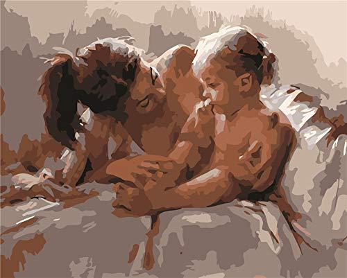 XSDFG Pintura por Números para Adultos con Pinceles y Pinturas Decoraciones para el Hogar -Madre e Hija(16×20 Pulgadas,Sin Marco)