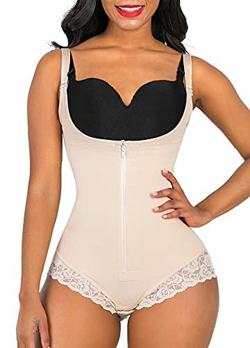 SHAPERX Women Shapewear tummy control Fajas Colombianas Body Shaper Zipper Open Bust Bodysuit, SZ7200-Beige-XL