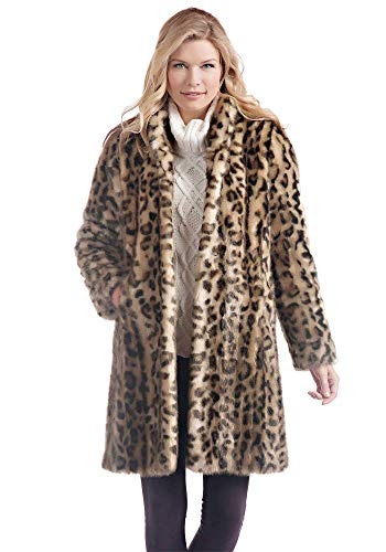 Donna Salyers' Fabulous-Furs Leopard Signature Knee Length Faux Fur Coat (M) (Leopard)