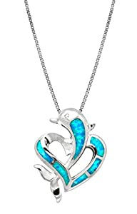 """Sterling Silver Dolphin Heart CZ Necklace Pendant with Synthetic Blue Opal and 18"""" Box Chain"""