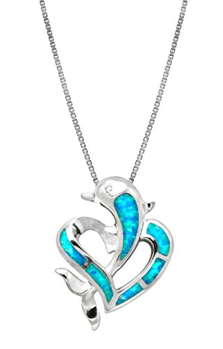 Sterling Silver Dolphin Heart CZ Necklace Pendant with Simulated Blue Opal and 18' Box Chain