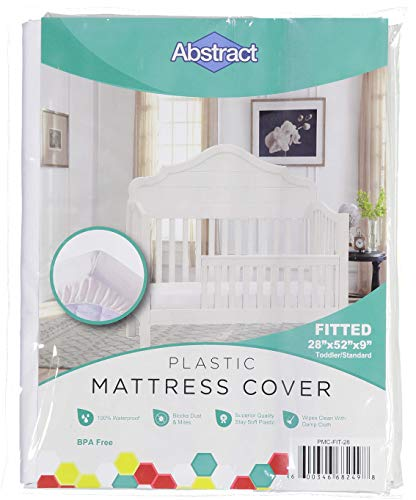 Abstract Waterproof Mattress Cover – Heavy Duty Vinyl Plastic Bed Crib Protective Fitted Sheet, 100 GSM PVC – Long Lasting Quality, Comfortable, Easy Care and Cleaning for Any Bedroom (28 x 52 x 8)
