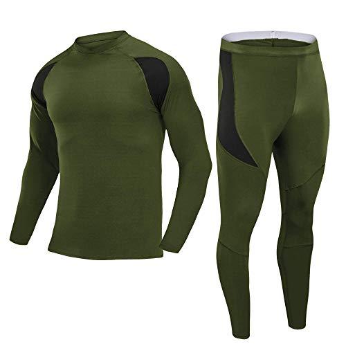 CptBtptPyy Maillot Vélo Manches Longues,Couche de Base Chaude pour Hommes, Leggings de Compression à Manches Longues, Collants, sous-vêtements-Vert_L