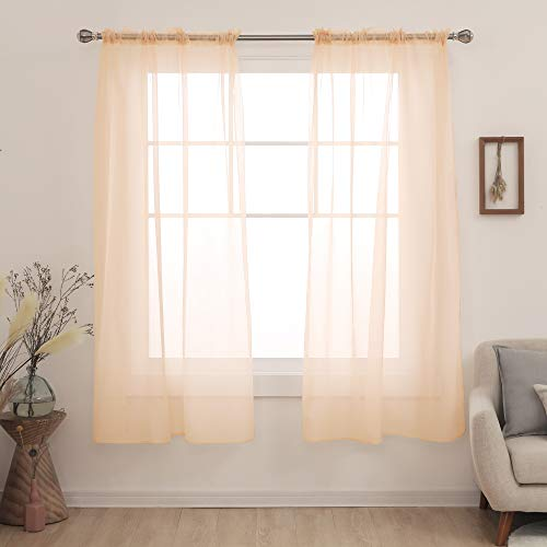 Deconovo Coral Sheer Curtains 72 Inch Long Rod Pocket Voile Drape Solid Sheer Curtains for Bedroom 54x72 Inch Peach Pink 2 Panels