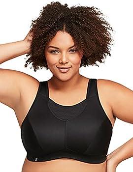 Glamorise Elite Performance Full Figure Wirefree Camisole Plus Size Back Close Sports Bra #1067 Black
