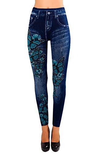 Bongual Damen Jeggings Jeans Optik Leggings Schlupfhose Schmetterling