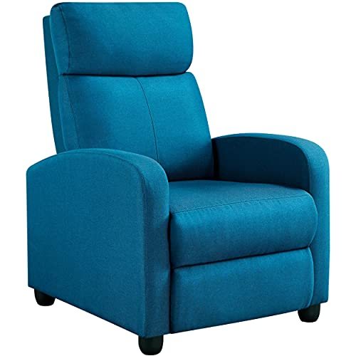 Yaheetech Fabric Recliner Chair Sofa Ergonomic Adjustable Single Sofa with Thicker Seat Cushion Modern Home Theater Seating for Living Room Blue