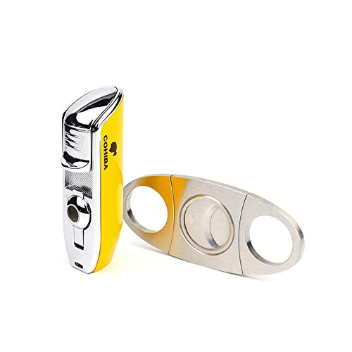 Cigar Set 3 Jet Flame Torch Lighter and Stainless Steel Blade Cigar Cutter, Portable Travel Cigar Suit, with Gift Box,Yellow