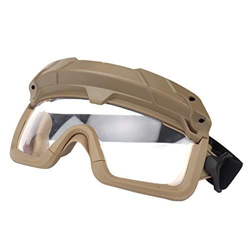 Huntvp Taktische Schutzbrille Militär Brille Tactical Goggles Klar Winddicht fürHerren Damen Paintball Airsoft Softair CS Spiel Cosplay Sport Outdoor, Braun