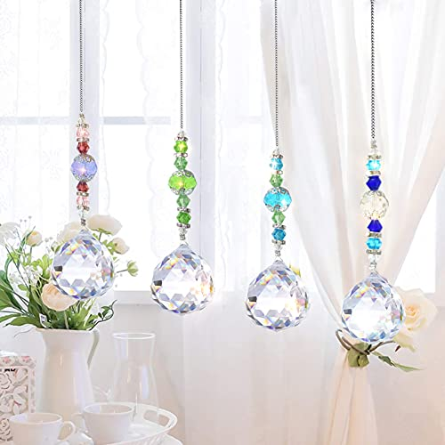 4 Stück Kristall Anhänger Deko,Kristall Regenbogen,Kristalle Als Dekoration,Sonnenfänger Hängende Fenster,Fensterdekoration Kristall,Kristalle Deko,Bunte Kristall,Glas Anhänger Kristallkugel