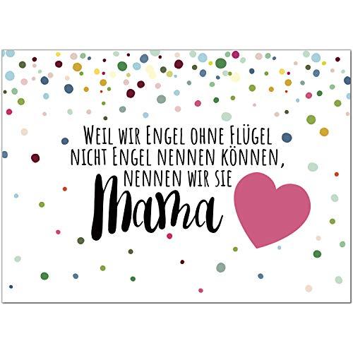Postkarte Rosa Herz - Engel ohne Flügel/Moderne Karte mit Umschlag/Grußkarte zum Muttertag/für Mama