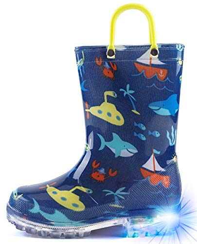HugRain Boys Kids Rain Boots Toddler Light Up Printed Waterproof Shoes Lightweight Adorable Shark Ocean Sea Blue Print with Easy-On Handles (Size 2,Blue)