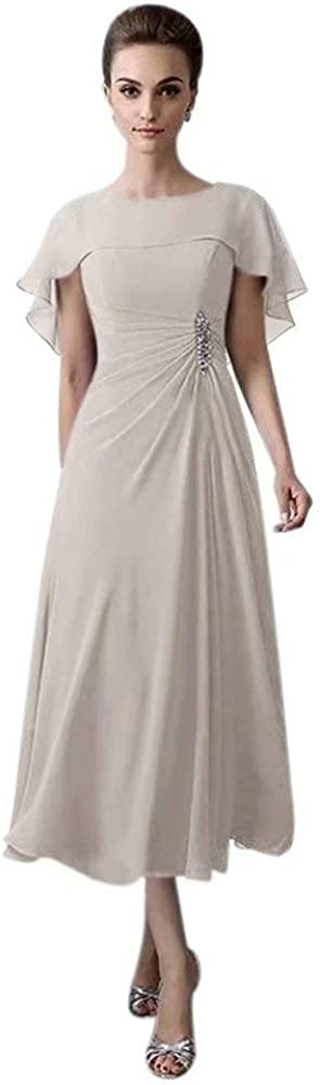 QueenBridal Short Tea Length Mother of The Bride Plus Size Formal Cocktail Dress QU110