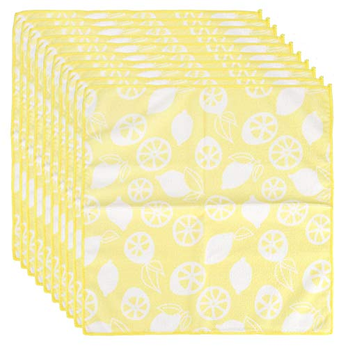 Emoshayoga 10PCS Microfiber Soft Towel Absorbent Towel Household Cleaning Tools with Fruit Pattern Yellow 40x40cm