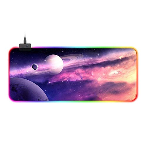 Cosmic Pink Nebula RGB Gaming Mouse Pad Gamer Computer LED Lighting USB Large Mousepad Colorful Non-Slip Desk Pad Mice Mat 11.81'x35.43'