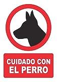 Señal cuidado con el perro – PVC 0,7mm – 21 x 30 cm – cartel señal...