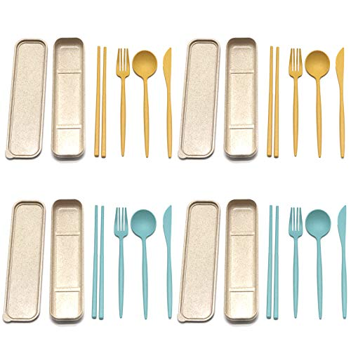 4 Sets of 4-piece Portable Utensils, Healthy Eco-Friendly Wheat Straw...