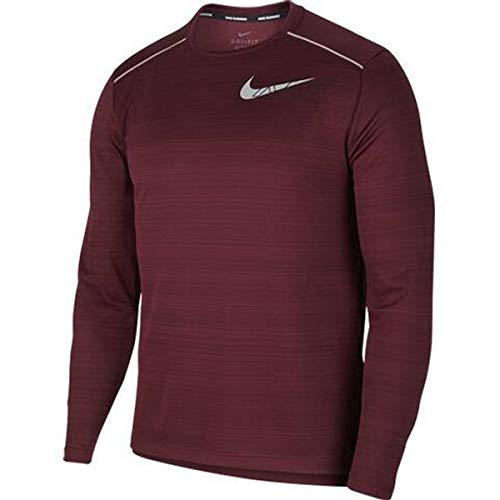Nike Herren Miler Flash Nv Longsleeve T-Shirt, Rot (Night Maroon/Reflective Silv), (Herstellergröße: Large)