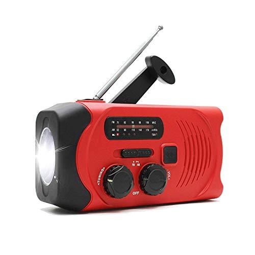 防災ラジオ ラジオライト 懐中電灯 手回し充電 USB充電 AM/FM ソーラーラジオ 地震 震災 津波 台風 停電緊急対策 (レッド)