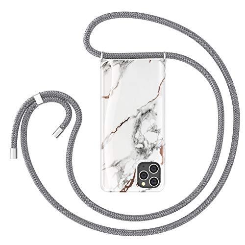 ZhinkArts Cadena para teléfono móvil compatible con Apple iPhone 11 Pro, pantalla de 5,8 pulgadas, collar de mármol (extraíble), funda para teléfono móvil con cordón para colgar en color blanco y gris