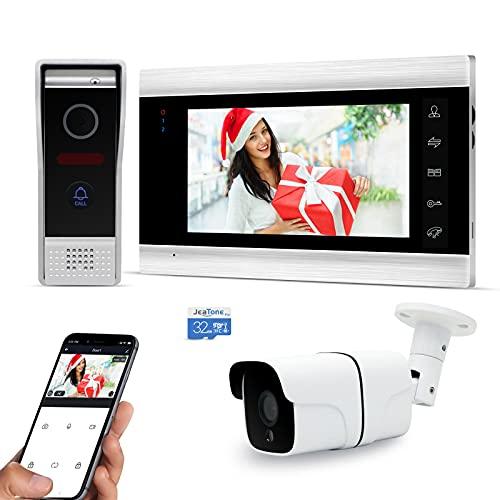 Jeatone Wifi Videoporteros con cable de 7 pulgadas, timbre con cable de cámara 720P, audio/video bidireccional, IP65, instantánea móvil, vigilancia activa, desbloqueo remoto, hablar, grabar