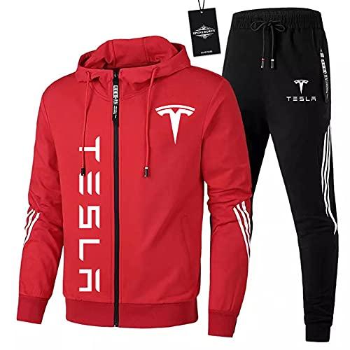 JasMINBusse Herren Trainingsanzug Einstellen Joggen Passen Te-sla Kapuzenpulli Zip Jacke + Hose Sport Kapuzenpullover Sweatshirt Fitnessstudio /  Rot/M