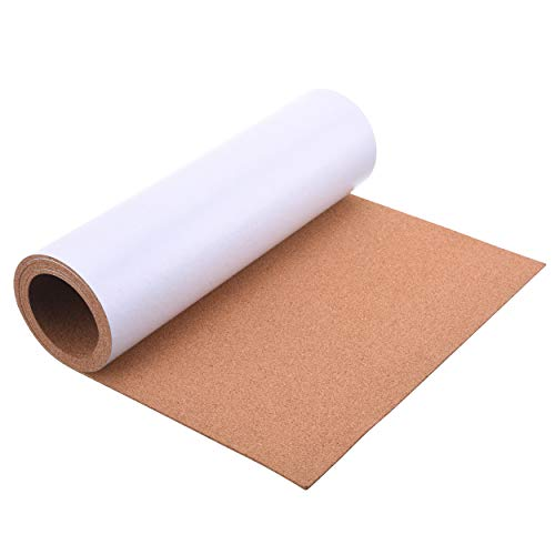 """SUNGIFT Cork Board Roll 3 mm Thick - 50""""x16"""" Cork Rolls Bulletin Boards Natural Cork Self-Adhesive Shelf Liner Replacement DIY Craft Kitchen Pads Corkboard with 100 Push Pins"""