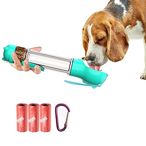 Fles voor honden, 4 in 1 super grote reiswaterfles, laptop met watercontainer, met kak zak en schop voor kak, container, hondenvoeding doos,Blue,300ML