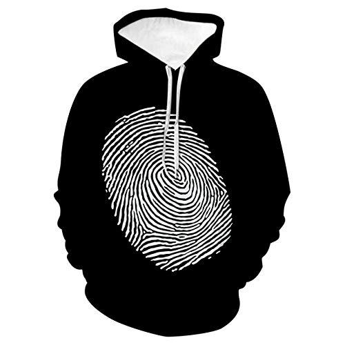 Simmia home Loses Kapuzenpärchenhemd, Baseballuniform, Fingerabdruck, M3D Print Hoodie,Long-Sleeved Hooded Top Sweatshirt with Pockets