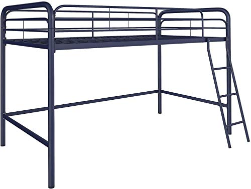 DHP Junior Loft Bed Frame With Ladder, Navy Blue