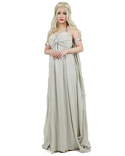miccostumes Women's Daenerys Targaryen Cosplay Grey Long Dress (Women m)