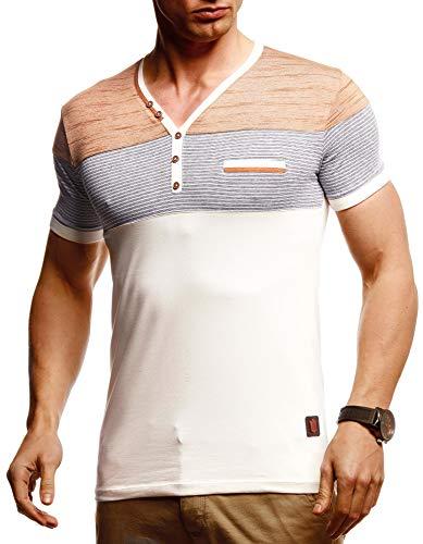 Leif Nelson Herren Sommer T-Shirt V-Ausschnitt Slim Fit Baumwolle-Anteil Basic Männer T-Shirt V-Neck Hoodie-Sweatshirt Kurzarm lang Weißes Jungen Shirt Kurzarmshirts LN4885 Beige Large