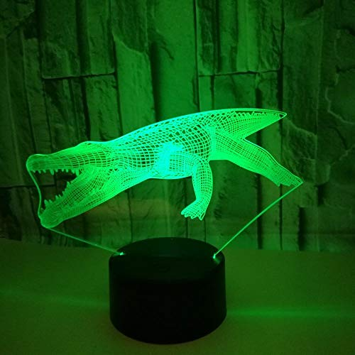 New Crocodile 3d small night light color touch remote control Visual Gift LED Night Light kids room Usb Led 3d lights