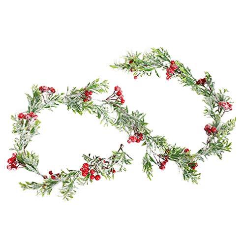 TOYANDONA Red Berry Christmas Garland Decoration Pine Cones Needle Artificial Winter Smokey Berry Garland Snow Holiday Greenery Fireplace Décor Xmas Decoration