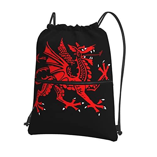 Mochila impermeable de la bandera del dragón galés con cordón, bolsa de gimnasio, con bolsillo interior con cremallera, bolsa de viaje para deportes, mochila para hombres y mujeres con cremallera