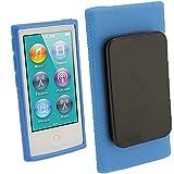 iGadgitz U2065 - Funda Compatible con Apple iPod Nano 7a Generación, con Clip y Protector De Pantalla - Azul