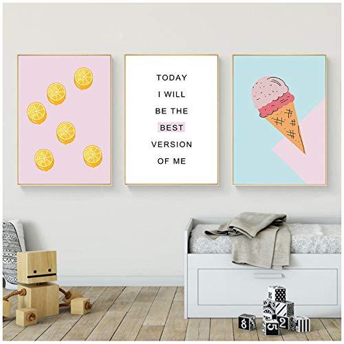 hdbklhjxk cartoon levensmiddelen ijs muurkunst canvas schilderij kleuterschool afbeelding poster en afdrukken kinderslaapkamer wooncultuur 40x60cmx3 niet ingelijst