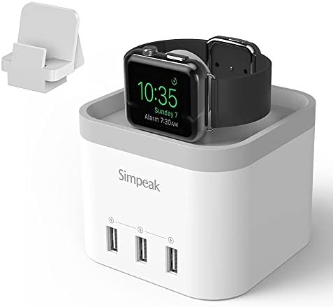 Simpeak 4 Port USB Charger Station, Charger Stand Compatible with Apple Watch Series 6 5 4 3 2 1, [Nightstand Mode], with Phone Charger Holder Stand, White