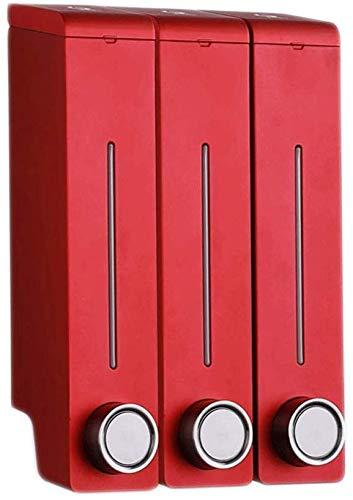 JXXDDQ Dispensador de jabón de tres cabezales para el hogar, sin perforaciones, para baño, montaje en pared, de gel de ducha manual, dispensador de jabón para eliminar residuos (tamaño: rojo)