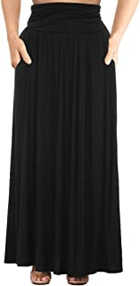 Women's Plus Size Shirring High Waist Pleated Long Maxi Skirt with Pockets
