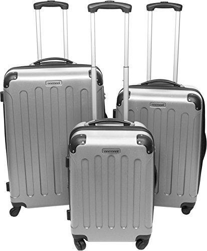 3er Hartschalen ABS Hochglanz Koffer Set in verschiedenen Motiven und Ausführungen Farbe Silber