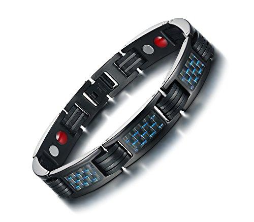 VNOX - Pulsera de Acero Inoxidable con Incrustaciones de Fibra de Carbono Azul 4 en 1 para Hombre, Color Negro, 22 cm