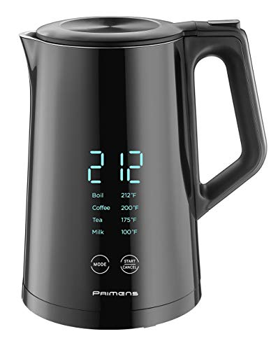 Smart Electric Kettle Variable Temperature Control  LED Display  Keep Warm  Hot Water Tea Coffee Kettles Double Wall Cool Touch Fast Boil 100% Stainless Steel 304 2year Warranty Black 120V