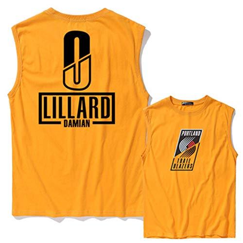 DWQ Blazers # 0 Jersey de Baloncesto de los Hombres de Lillard, Jersey de Baloncesto Swinger, Chaleco de Camiseta de algodón, Chaleco Deportivo de Secado rápido (S ~ 3XL Yellow-XL