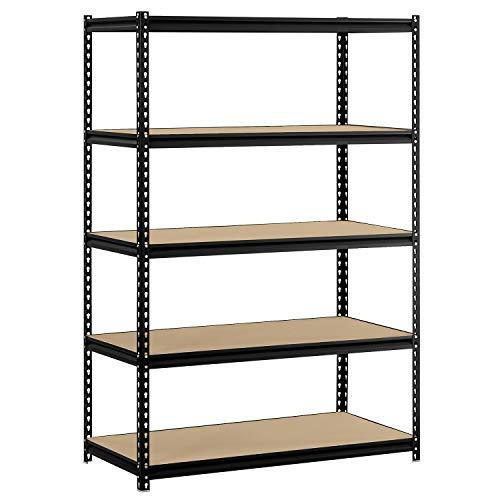 Edsal 48W x 24D x 72H 5-Shelf Steel Shelving Black