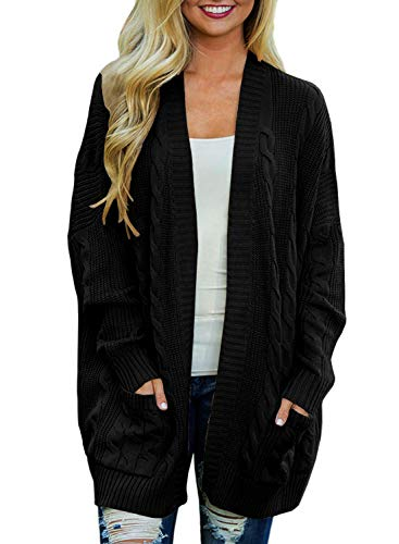 Arjungo Women's Oversize Open Front Long Sleeve Cardigan Sweaterst Cable Knit Boyfriend Loose Outwear with Pockets